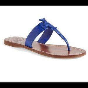 Tory Burch Moore Leather Thong Sandals Blue 10.5
